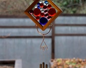 Wind Chime Red Blue Purple Glass Cedar Copper Brass Kaleidoscope Suncatcher
