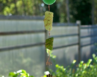 Wind Chimes Beach Glass and Copper Sun Catcher with Brass Chimes sea glass stained glass windchime