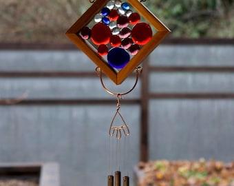 Wind Chime Red Blue Purple Glass Cedar Copper Brass Kaleidoscope Suncatcher