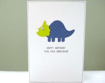 Funny Birthday Card - dinosaur birthday cards - dad birthday card for him - old dinosaur age joke - triceratops - happy birthday card - UK
