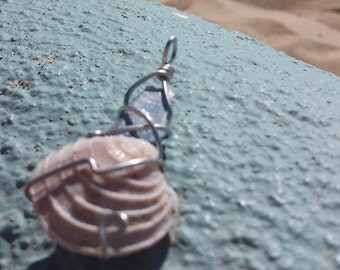 Kyanite and Shell wire wrap pendant
