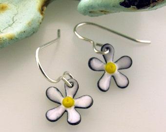 Flower Earrings, small enameled earrings, choose your color, colorful flower jewelry by Kathryn Riechert