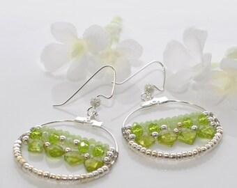Peridot and Crystal Earrings Paradise  - Green Earrings- Light Green Dangle Earrings - Peridot Earrings - August Birthstone