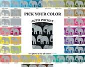 Auto Pocket - Elephants - PICK YOUR COLOR - Car Accessory Automobile Caddy