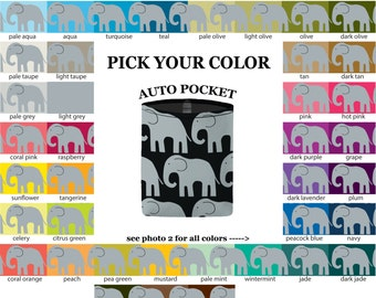 Auto Pocket - Elephants - PICK YOUR COLOR - Car Accessory Automobile Caddy