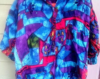 Vintage Abstract 80s Oversized Short Sleeve Shirts Size 20