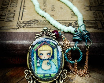 Alice in the the white rabbit's house, An original metal and glass beads handmade necklace and pendant from wonderland created by Danita Art