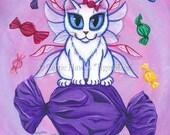 Whimsical Cat Art Candy Fairy Cat Painting Sweet Hard Candy White Fairy Cat Big Eye Fantasy Cat Art Print 8x10 Cat Lovers Art
