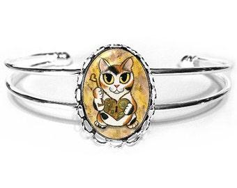 Steampunk Cat Bracelet Calico Cat Valentine Cat Big Eye Fantasy Cat Art Silver Cat Cameo Bracelet 25x18mm Cat Lovers Jewelry