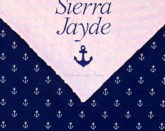 Nautical Baby Blanket Nursery Baby Shower Gift , Baby Girl Baby Boy Blankets , Minky and Anchors for Boys and Girls - Gender Neutral