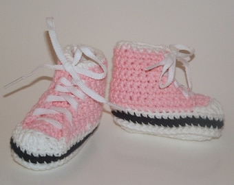 Baby Pink High Top Sneaker Booties, size Small (6 month)