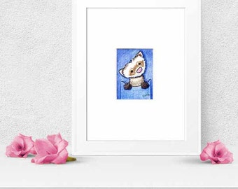 Matted ORIGINAL Art Drawing Ferret Caricature ACEO