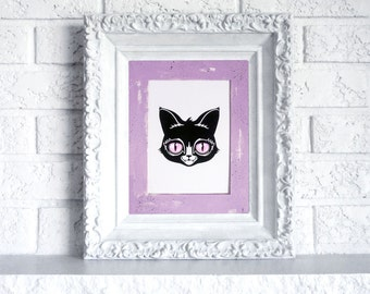 Cat Print in Hand Painted Mat - Ready to frame art print with purple and black mat