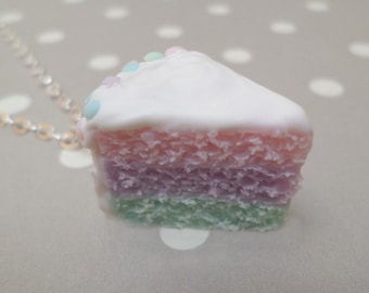 Pastel Mermaid Cake Slice Necklace: Polymer Clay Food Jewelry