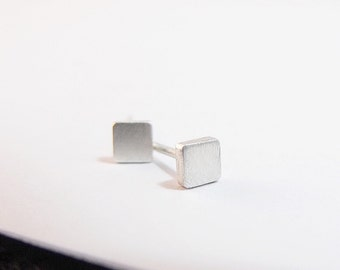 Earrings - Sterling Silver Earrings - Square Stud Earrings - Square Silver Post Earrings - Square Earrings - Tiny Earrings