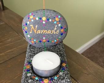 Stone Namaste Candle and Incense Holder