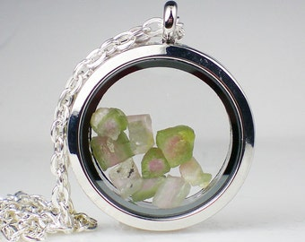 Watermelon Tourmaline Floating Glass Locket Necklace Pink Green Gemstone Jewelry