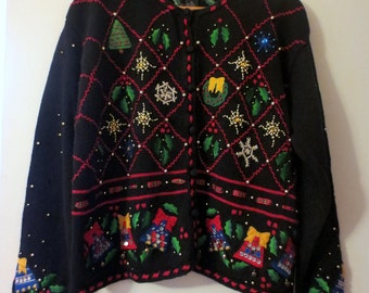 Super Ugly Tacky Festive Holly Jolly Jingly Christmas Holiday Party Sweater