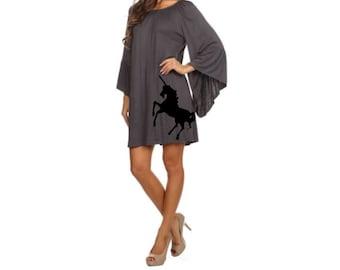 Womens Bohemian Dress Little Black Dresses Unicorns Print Women's Unicorn Clothing Sizes small - 3X Boho Tunic Off Shoulder Holiday Apparel