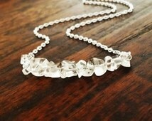 Delicate Clear Quartz strand Necklace, Minimalist Layering Necklace, Boho Chic necklace, Crystal row necklace, Christmas gifts for her