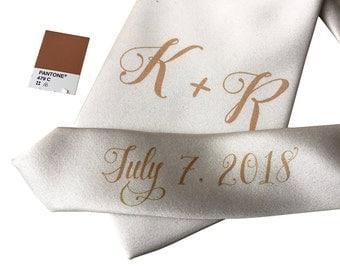 Custom Wedding Ties. Initials w/ Pretty Script handwritten font. Personalized monogram name tie. Add wedding date/message on tie tail too!