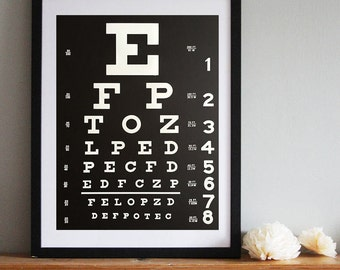 Eye Chart Screen Print Poster. Snellen Eye Chart art print, 19x25 silkscreen print. Ophthalmologist gift, eye doctor gift.