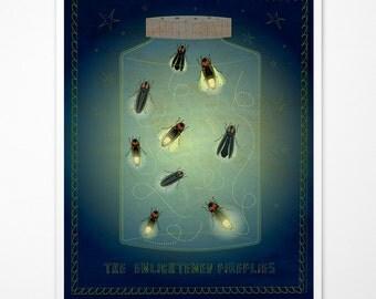"""The Enlightened Fireflies Print 8""""x10""""- Summer Decor- Nursery Prints- Firefly Decor- Firefly Jar- Firefly Wall Art- Mason Jar Fireflies"""