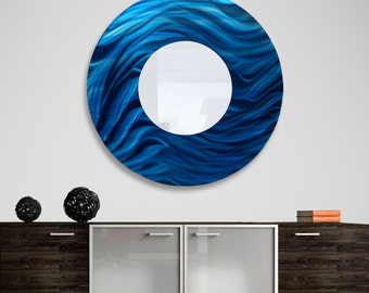 "Circle Modern Metal Wall Mirror in Blue, Huge Hanging Metal Wall Art, Round Contemporary Wall Mirror Decor - Mirror 117 XXL 40"" by Jon Allen"