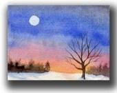 ACEO watercolor MOONRISE over Snow original painting SFA miniature winter snow dollhouse mini