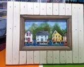 SUMMER Camp original watercolor seascape framed