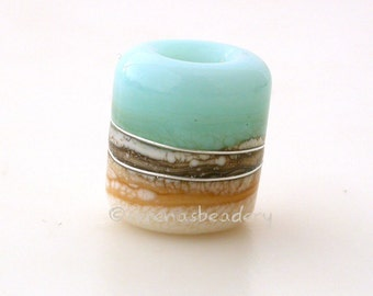 KRYPTONITE IVORY beach european charm Lampwork Glass Bead - TANERES sra translucent mint blue