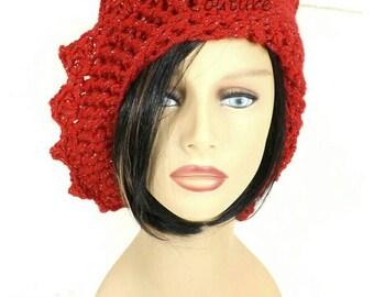 Crochet Hat Womens Hat, Womens Crochet Hat, Crochet Beanie Hat, Red Sparkle Hat, Red Hat, Lauren Beanie Hat for Women, Lauren Hat