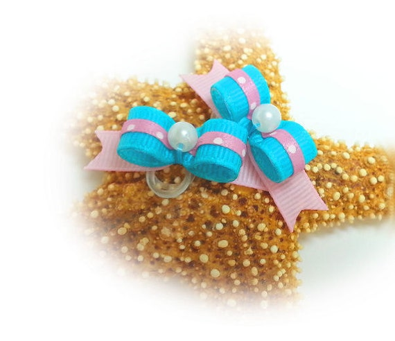 Dog Bows for Small Dogs, Turquoise Pet Bow, Girl Dog Hair Bow, Small Pet Bow