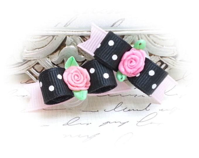 Sweetheart Dog Hair Bows - Black Dots and Ribbon Rose Dog Bow