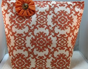 Medium Tote Bag, Shoulder Bag, Work Bag, Device Bag, Project Bag, Book Bag, Orange and Cream Print, Orange Yo Yo