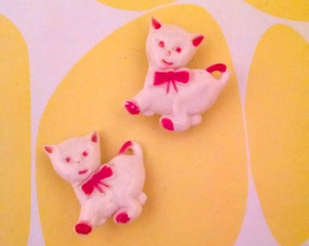 1980s White and Red Kitten Barrettes