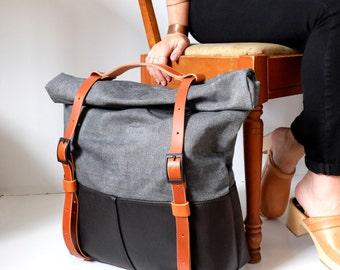 Leather and Waxed Denim Weekender Bag- The HotShot Weekender Bag in Denim by Awl Snap