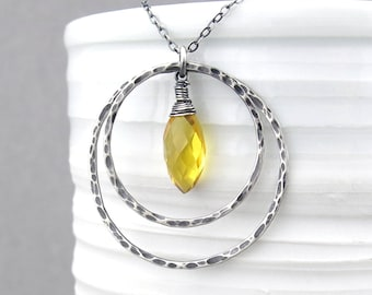 Citrine Necklace Long Silver Necklace November Birthstone Jewelry Sterling Silver Circle Necklace Modern Jewelry - Large Shimmer Layers
