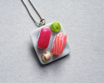 Sushi Nigiri Plate Necklace - polymer clay miniature food jewelry