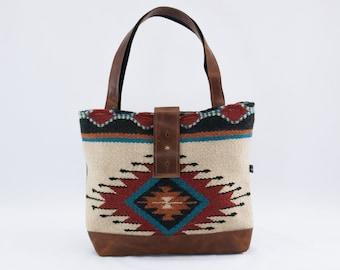 Last One! SALE! Ann Shoulder Bag in Cream Wool Saddle Blanket