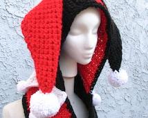 Harley Quinn Inspired Scoofie - Character Themed Hooded Scarf, Handmade Crocheted w/ Acrylic Yarn - Batman Gift For Her Comic Hat