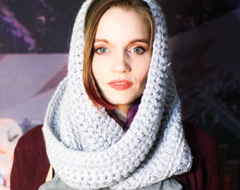 Gray Glitter Cowl - Crocheted Eternity Scarf w/ Soft Acrylic Yarn & Pink Hologram Sequins - Read To Ship