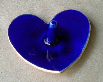 Ceramic Ring Holder Bowl Cobalt blue gold edged engagement ring holder