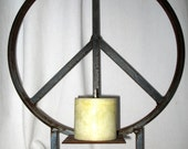 RESERVED for Debi- 22 inch peace sign table top sculpture with candle holder