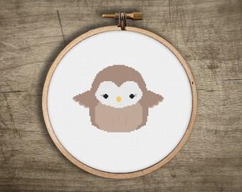modern owl cross stitch pattern ++ kawaii ++ pdf INsTAnT DOwNLoAD ++ diy hipster ++ handmade design