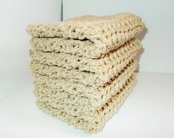 Crochet Dishcloth, Washcloth, Handmade Wash Rag, Set of 4, Kitchen Dish Cloths, Extra LARGE SIZE, Linen Stack