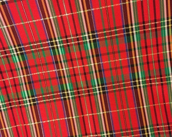 CHRISTMAS PLAID Fabric - Red Green Blue Gold Holiday Satin Lining Type