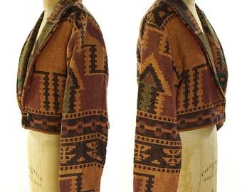 Southwest Blazer with Native American Inspired Pattern / Vintage 1990s Woven Cotton Boho Hippie Bohemian Western Blanket Cropped Jacket