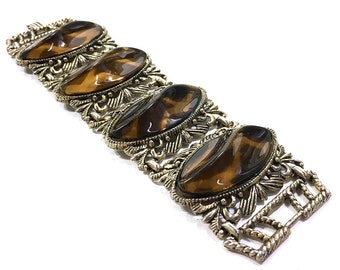 Rococo Bracelet / Vintage 1950s Antique Inspired BIG and WIDE Link Bracelet with Faux Leopard Gemstones & Repousse Setting