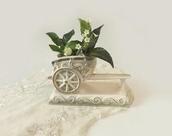 Rubens Chariot Vase, White Green and Gold Ceramic Planter, Cottage Chic Table Decor, Hickok Design